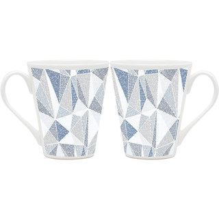 HomeSoGood Shaded Pyramids Latte Coffee Mugs (2 Mugs) (HOMESGMUG1823-A)