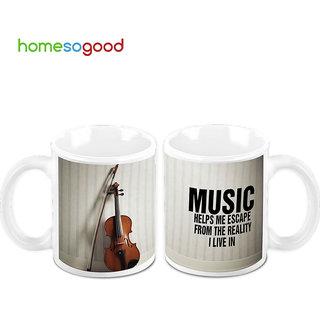 HomeSoGood Music The Reason To Live Creamic Coffee Mugs (2 Mugs) (HOMESGMUG454-A)