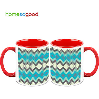 HomeSoGood Blinking Blue Lights Coffee Mugs (2 Mugs) (HOMESGMUG741-A)