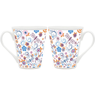 HomeSoGood Awesome Pattern Of Design Art White Ceramic Latte Coffee Mug - 355 ml (Set Of 2 ) (BHOMESGMUGB324-A)