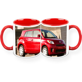 HomeSoGood The Simple Red Beauty Automobile White Ceramic Coffee Mug - 325 ml (Set Of 2) (CHOMESGMUGC121-A)