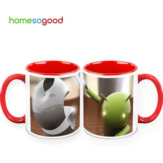 HomeSoGood Android Vs IOS Coffee Mugs (2 Mugs) (HOMESGMUG397-A)