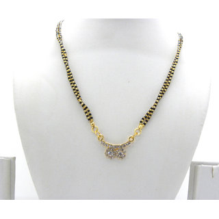 Swar Nice Black And Gold Mangalsutra With A Diamond Pendant
