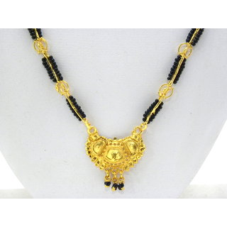 Swar Black And Gold Criss-Crossed Linked Mangalsutra With A Gold Plated Pendant
