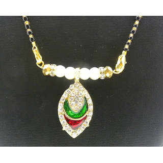 Swar Black And Gold Mangalsutra With A Oval Shaped Pendant With Diamonds And Red And Green Stones