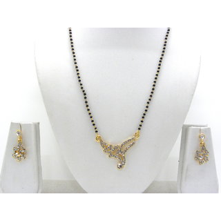 Swar Black And Gold Mangalsutra With A Diamond Pendant And Earrings