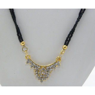 Swar Black And Gold Mangalsutra With A Diamond Pendant