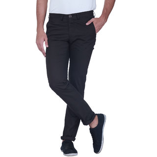 Grasim  Slim Fit Cotton Grayish black Mens Chinos