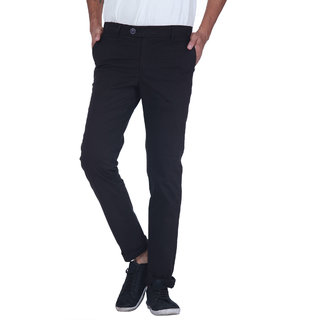 Grasim  Slim Fit Cotton Black Mens Chinos