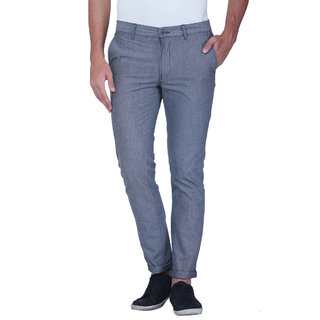 Grasim  Slim Fit Cotton Gray Mens Chinos