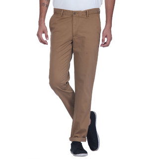 Grasim  Slim Fit Cotton Mud brown Mens Chinos