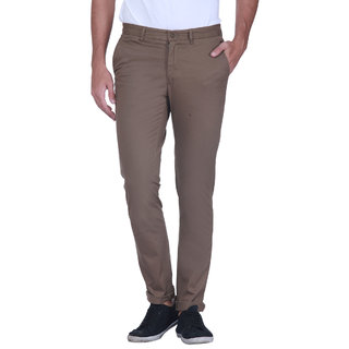 Grasim  Slim Fit Cotton Brown Mens Chinos