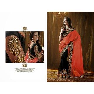 FashionSaga Designer rusty pallu meenakari saree necklace-blouse