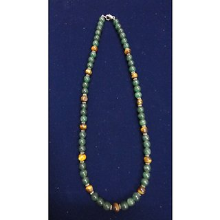 N0009-Necklace of green zade with tiger eye and silver rings