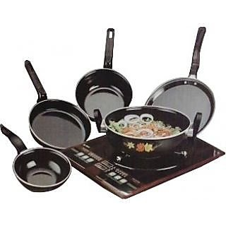 ZuTisch Hard Anodized Carbon Steel Black Set Of 5 Non Stick/Induction Friendly Cookware Set (No. of Pieces 5)