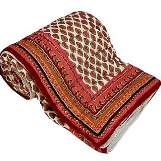 Marwal Gold Print Cotton Double Razai Quilt