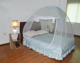 Double Bed Sized Folding Pop Up Canopy Mosquito Net With Carry Bag Blue