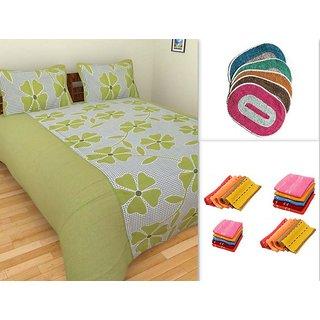 K Decor 1 Cotton Double Bed Sheet Set  3 Bath Mats  3 Velvet Face Towel(CT-01)