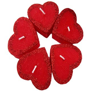 Glitter Red Heart 05 Floating Candles Set
