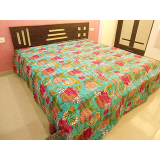 Handicrunch INDIAN PRINT TROPICAL / FRUIT PRINT KANTHA BEDCOVER