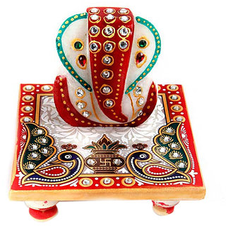 Marwal Marble Lord Ganesha on Chowki in Peacock Design