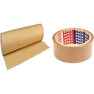 Hitech Packers Brown Paper Roll 20mtr + 1 Brown Tape 2 Inch