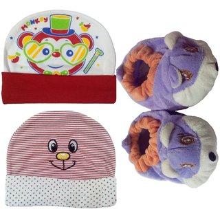 Kerokid Baby Caps Booties Kids Cotton Combo Set - (0-6 Month)