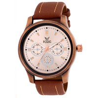 Fogg Round Dial Brown Leather Strap Quartz Watch For Me