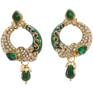 My Design green meenakari stone earring