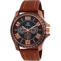 Fogg Round Dial Brown Leather Strap Men Quartz Watch for Men