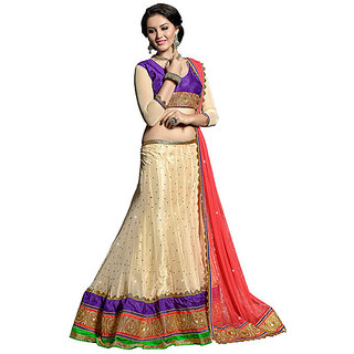 Lovely Beige Color with Red and Purple Color Embroidery Lehenga Choli Panchhi