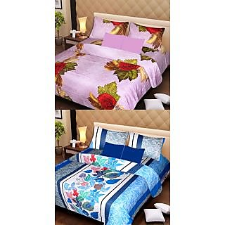 Akash Ganga Beautiful Combo of 2 Double Bedsheets with 4 Pillow Covers (AG1159)