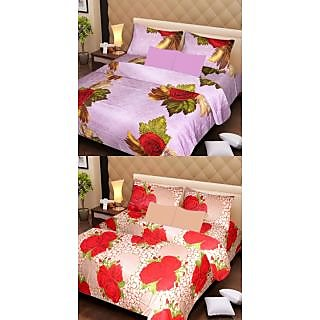 Akash Ganga Beautiful Combo of 2 Double Bedsheets with 4 Pillow Covers (AG1160)