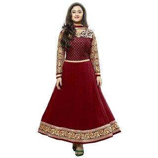 Krazzy2buy Rashmi Desai Maroon Embroidery Pure Georgette Anarkali Salwar Suit
