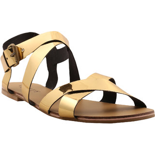 Glety Golden Leather Flat Sandal