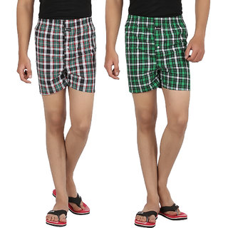 Joven Mens Cotton Checkered Multicolor Boxer-N014