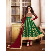 Thankar Latest Designer Maroon And Green Anarkali Suit