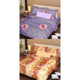 Akash Ganga Beautiful Combo of 2 Double Bedsheets with 4 Pillow Covers (AG1171)