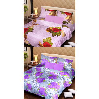 Akash Ganga Beautiful Combo of 2 Double Bedsheets with 4 Pillow Covers (AG1172)
