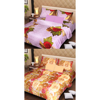 Akash Ganga Beautiful Combo of 2 Double Bedsheets with 4 Pillow Covers (AG1177)