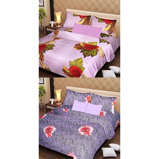 Akash Ganga Beautiful Combo of 2 Double Bedsheets with 4 Pillow Covers (AG1178)