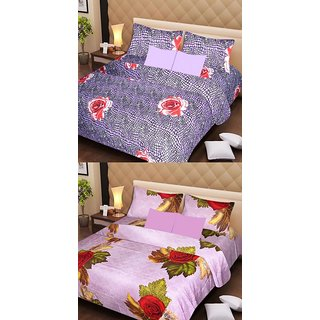 Akash Ganga Beautiful Combo of 2 Double Bedsheets with 4 Pillow Covers (AG1179)