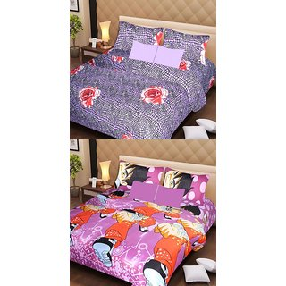 Akash Ganga Beautiful Combo of 2 Double Bedsheets with 4 Pillow Covers (AG1184)