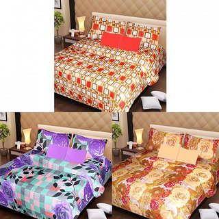 Akash Ganga Cotton Set of 3 Bedsheets with 6 Pillow Covers (AG1185)