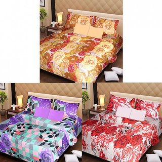 Akash Ganga Cotton Set of 3 Bedsheets with 6 Pillow Covers (AG1186)