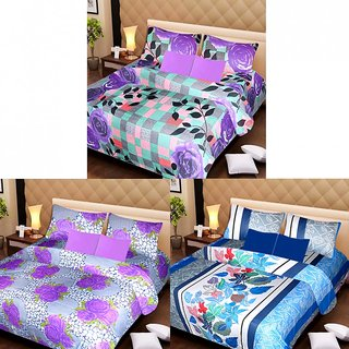 AKASH GANGA MULTI COLOUR  3 COTTON BEDSHEET S WITH 6 PILLOW COVERS (AG1204)