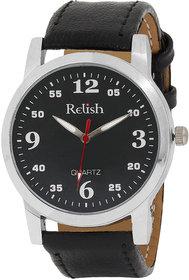 Relish Round Dial Black Leather Strap Quartz Watch For