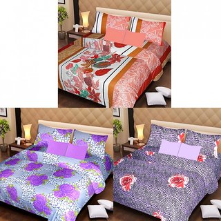 AKASH GANGA MULTI COLOUR  3 COTTON BEDSHEETS WITH 6 PILLOW COVERS (AG1217)