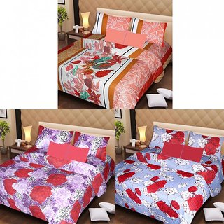 AKASH GANGA MULTI COLOUR  3 COTTON BEDSHEETS WITH 6 PILLOW COVERS (AG1218)