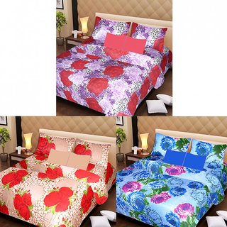 AKASH GANGA MULTI COLOUR  3 COTTON BEDSHEETS WITH 6 PILLOW COVERS (AG1220)